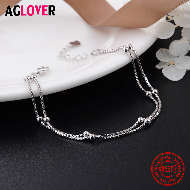 100 925 Sterling Silver Fashion Women 39 s Jewelry Double Chain Beads Bracelet 19 5cm For Gift Girls Lady Free Shipping in Bracelets amp Bangles from Jewelry amp Accessories