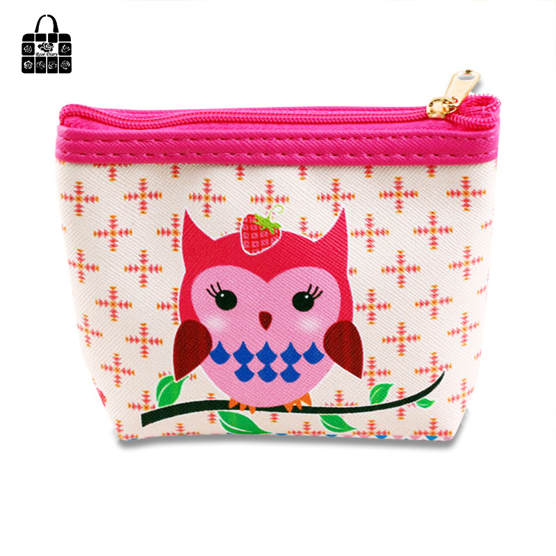 Rose Diary New Fashion creative cartoon Cute Owl Student Coin Purse zipper pu mini Femal storage bag key bag handbag small Gift