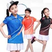 Tenis masculino для девочек китайская рубашка Для Настольного Тенниса Детский костюм с короткими рукавами для настольного тенниса Детская рубашка для бадминтона спортивные трикотажные изделия