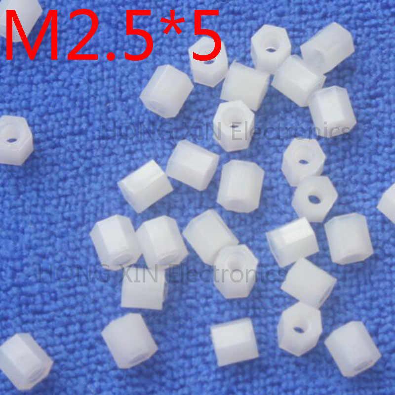 M2.5 * 5 1 pz Bianco nylon Standoff Spacer Standard M2.5 Femmina-Femmina 5mm Supporti parti Kit di Riparazione di alta Qualità