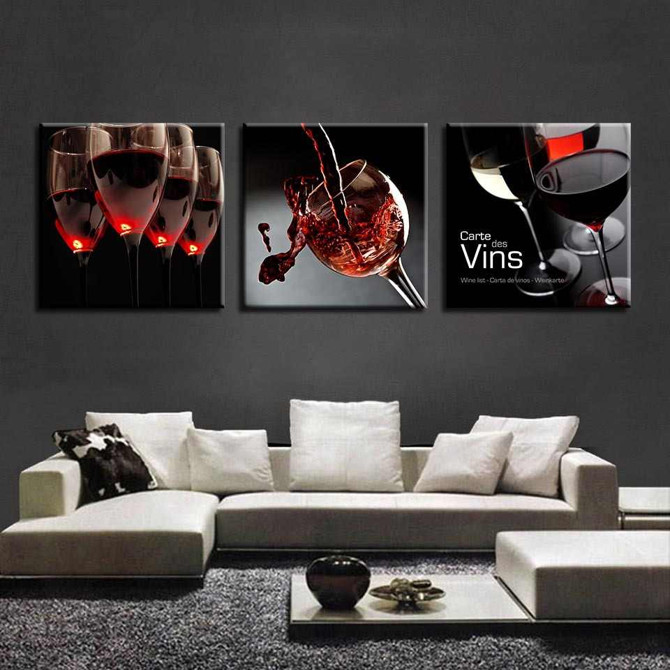 HD Three Pieces Wall Decor Picture Wine Glass Decorative Painting Home Living Room Bedroom Mural Poster Room Home Decor COLOMAC