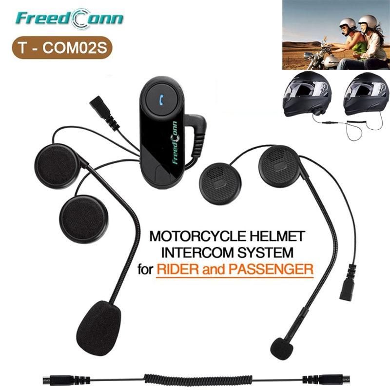 FreedConn T COM02S Motorcycle Helmet Bluetooth Headsets Intercom Handsfree Headset Rider Pillion Interphone Helmets Headphone