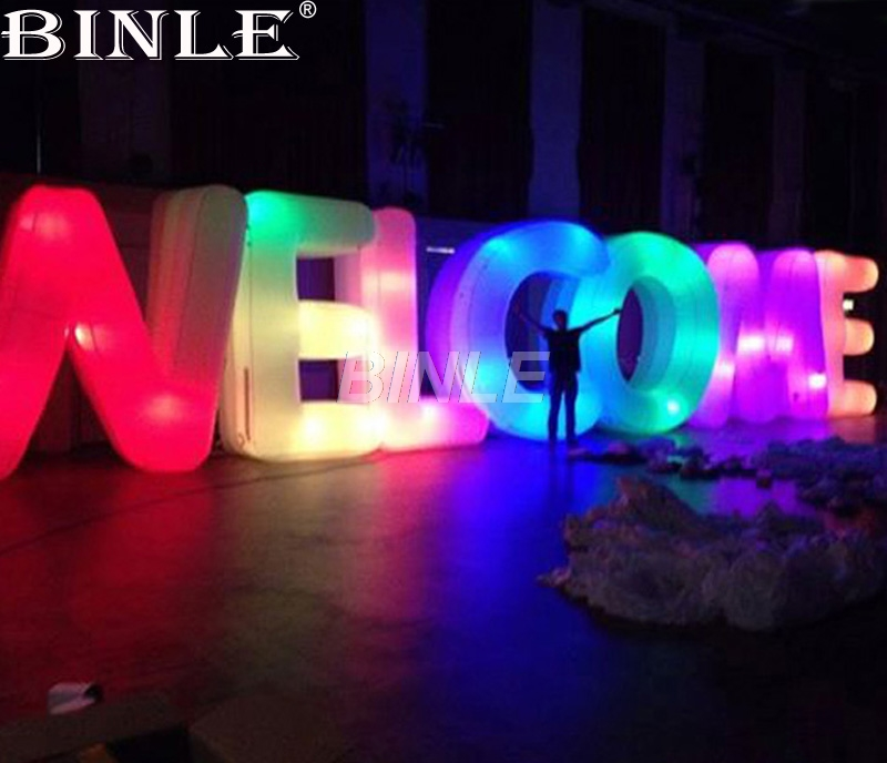 купить Hottest free shipping 3mH giant inflatable letters with led lights welcome alphabets model for stage decoration недорого