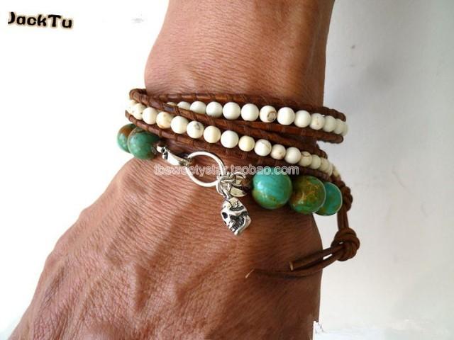 2017 Free shipping wholesale white turquoise double wrap leather bracelet