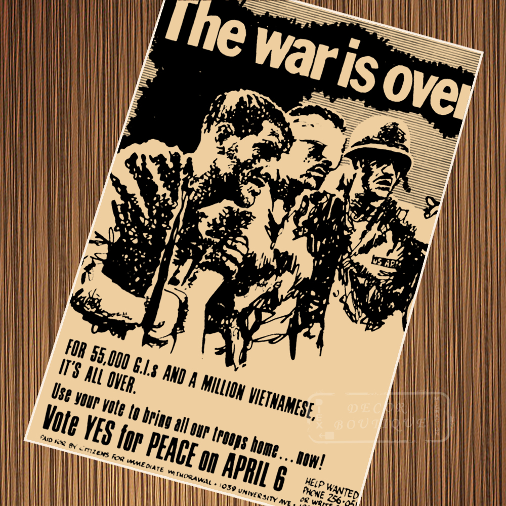 US $3 1 22% OFF|The War is Over Peace of Vietnam War Propaganda Retro  Vintage Poster Canvas Painting DIY Wall Paper Home Decor Gift-in Painting &