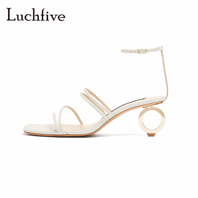 Sexy abnormal metal heels sandals women genuine leather open toe women shoes ankle buckle strap summer beige sandalia feminina summer rhinestone sequins women sandals fashion string bead chunky heels leisure open toe outwear black beige sandalia feminina