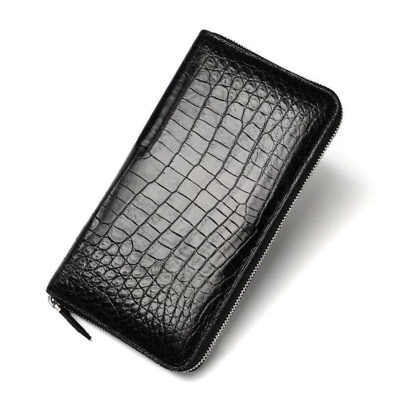 купить No Patchwork Designer Genuine Crocodile Leather Alligator Belly Skin Men Male Large Clutch Purse Zipper Closure Man Long Wallet