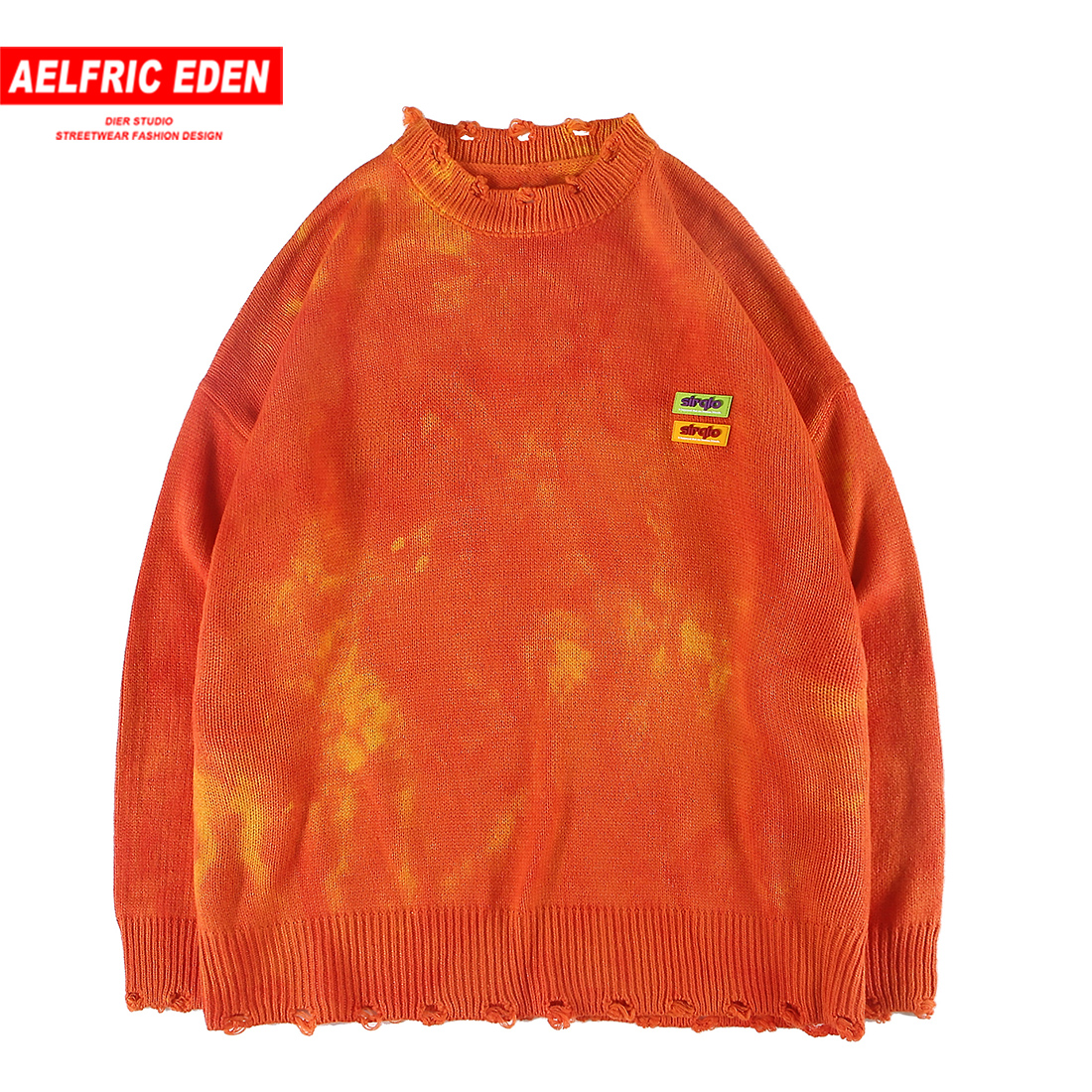 Aelfric Eden Vintage Letter Print Hone Knitted Pullover Sweaters Mens Harajuku Streetwear Autumn Winter Fashion Casual Sweater