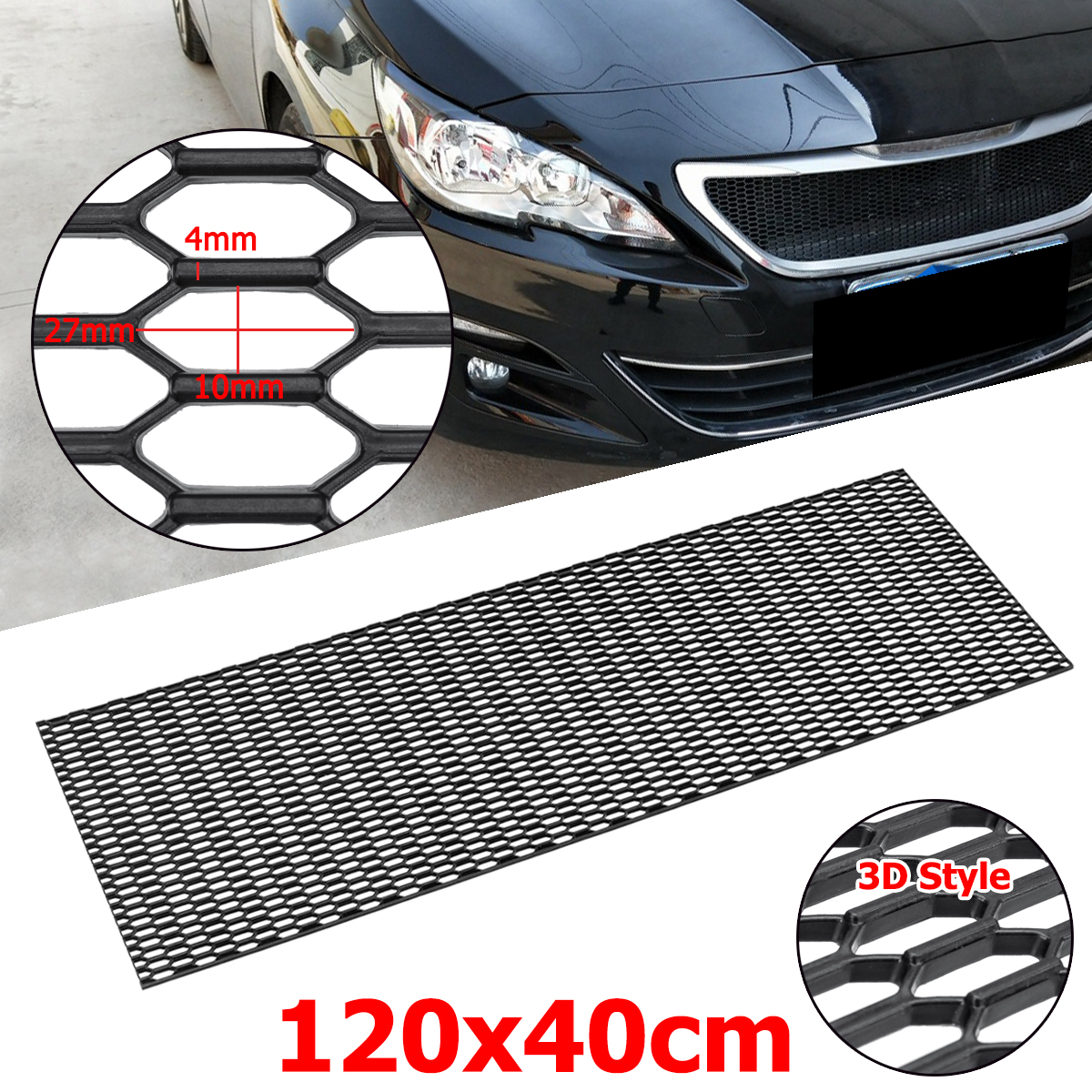 120cm Universal Racing Honeycomb Mesh Grill Bumper Vent Car Styling Air Intake Meshed Grille For Benz for Audi grille