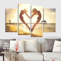 Sunset Seascape Wall Art Canvas Painting Female Friends Jumping on Beach Holding Hands in Heart Shape Giclee Print Beach Poster