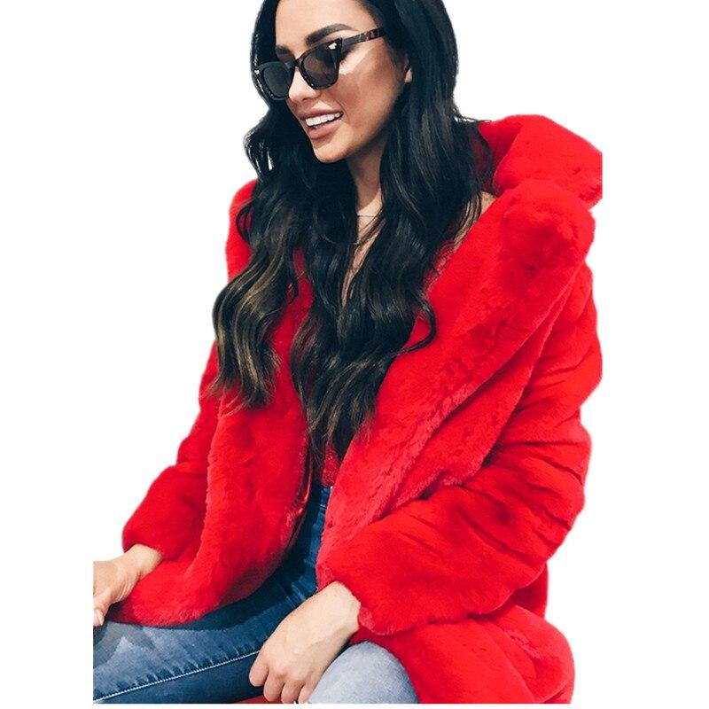 7 farben Frauen Winter Verdicken Warme Faux Pelz Mäntel Outwear Damen Casual Feste Volle Hülse Lange Abschnitt Gefälschte Pelz Jacke mantel