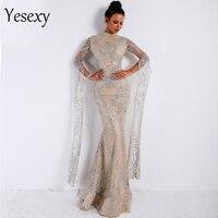 Yesexy 2019 Women Sexy High Neck Long Sleeve Split Glitter Dresses Female Maxi Elegant Party Dress Vestdios VR9283