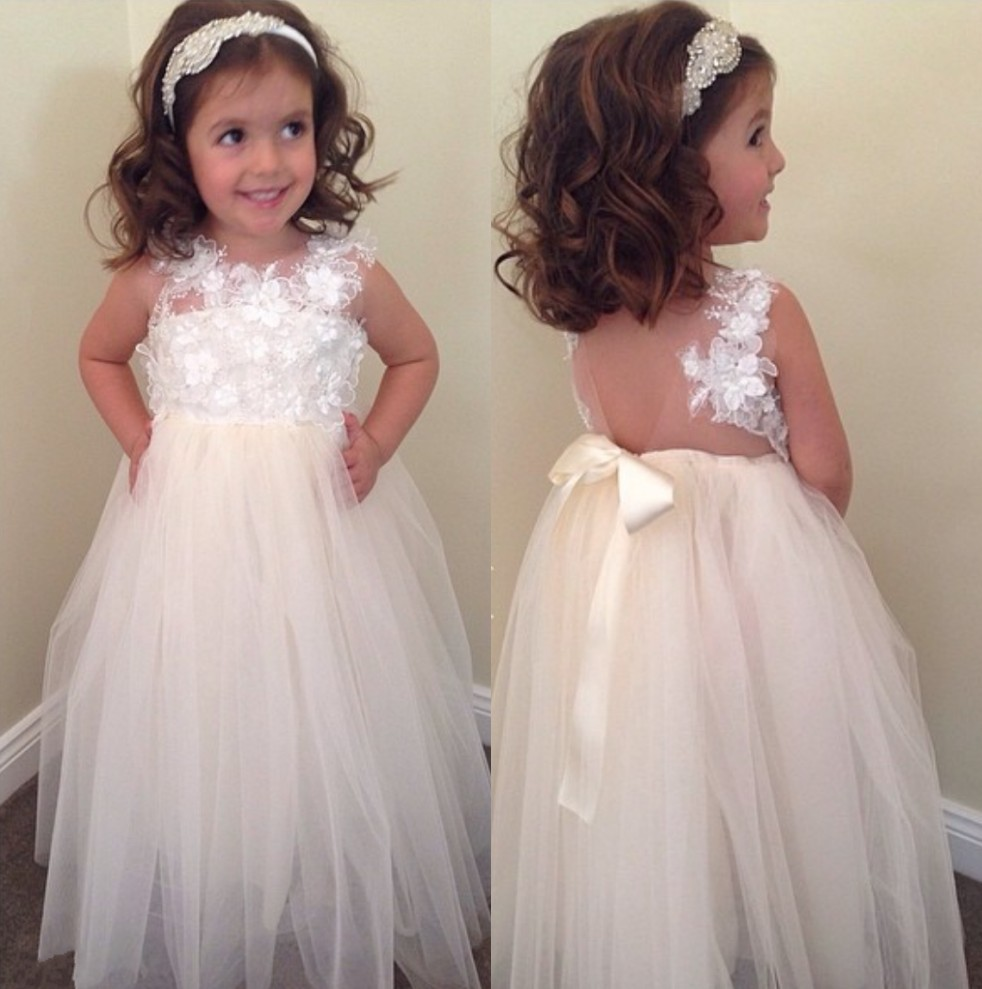 2016 Newest Lace Organza   Flower     Girls     Dresses   Ribbon Bow Sash Accessory   Flower     Girls     Dresses   Lovely Sexy Little   Girl   Party Gowns