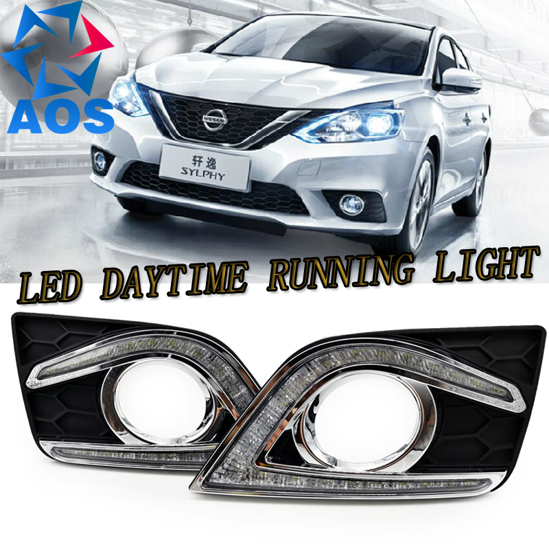 LED Car DRL Daytime Running Lights for Nissan Sylphy Sentra 2016 2017 with auto fog daylight driving lamps jgrt 2011 for nissan sentra fog lights led drl turnsignal lights car styling led daytime running lights led fog lamps