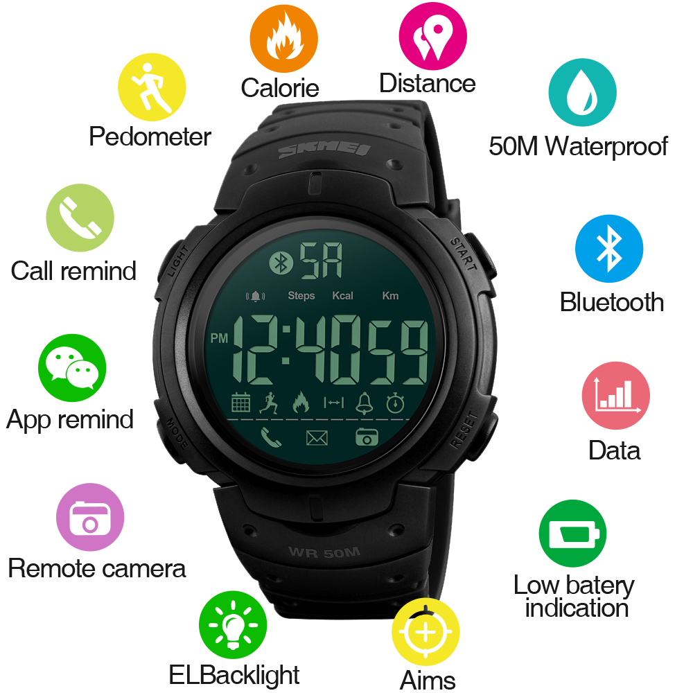 SKMEI Fashion Smart Watch Men Calorie Pedometer Bluetooth Klockor - Herrklockor - Foto 2