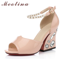 Luxury Women Sandals Peep Toe  Party Thick High Heels Female Pearl Rhinestone Blue Shoes Large Size 40