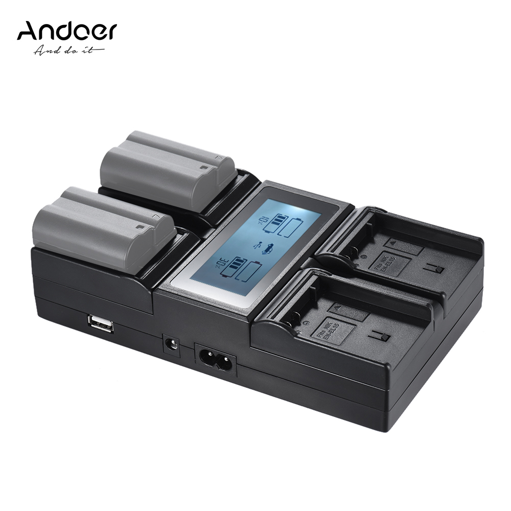 Andoer En El15 4 Channel Digital Camera Battery Charger W Lcd Display For Nikon D500 D610 D7000
