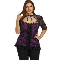 CharMma Sexy Plus Size 5XL Tops Women O Neck Half Sleeve Lace Cut Out Shirt 2018