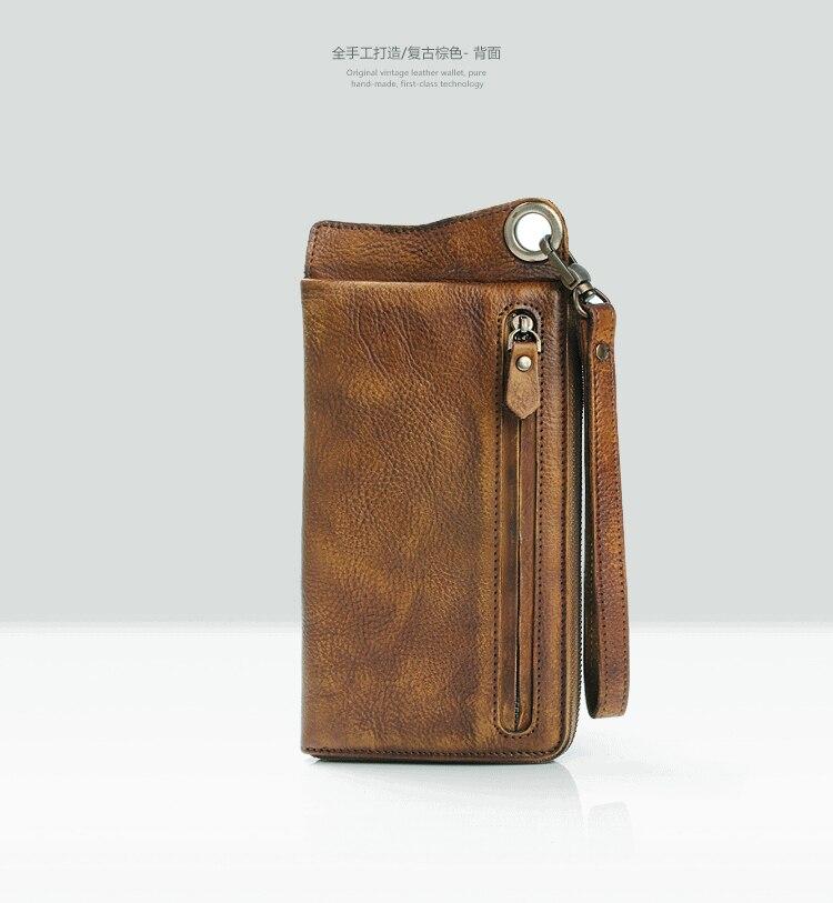 Bagaj ve Çantalar'ten Cüzdanlar'de Moda Bağbozumu Hakiki Deri Erkek Cüzdan Deri uzun cüzdan erkekler çanta el çantası para çantası erkek cüzdan bozuk para cüzdanı kart tutucu'da  Grup 3