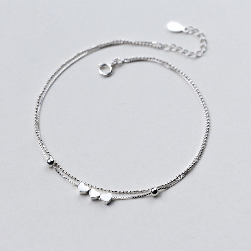 100% 925 Sterling Silver Anklets Jewelry Barefoot Sandals Double Layer Hearts Beads Ankle Bracelets for Women Foot Jewelry