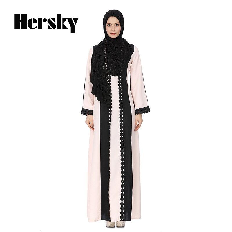 2018 Middle East Fashion Abaya Muslim Prayer Dress Dubai Kaftan Islamic Turkish Round Neck Baju Muslim Abayas For Women Clothing