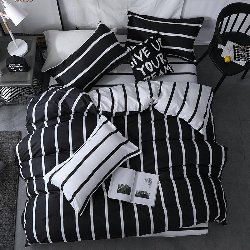 BESTE luxus schwarz streifen Bettbezug flache bettwäsche + Kissen König Königin volle Twin Bettwäsche Set Bettwäsche Set 3/4 stücke