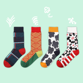 Women's Harajuku creative cotton crew socks individual flower and bird pattern funny cute happy socks Trend Street skateboarding animal hip hop cute crew women socks funny street happy socks usa japan mexico national theme personality skateboarding