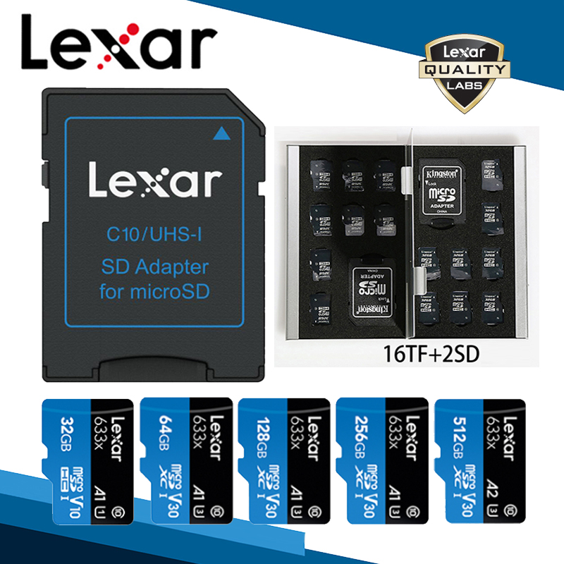 Lexar Memory SD Card Adapter Micro SD Card Reader TF Card Case 16GB 32GB 64GB 128GB 256GB 512GB A2 U3 C10 V30 633x Flash Card