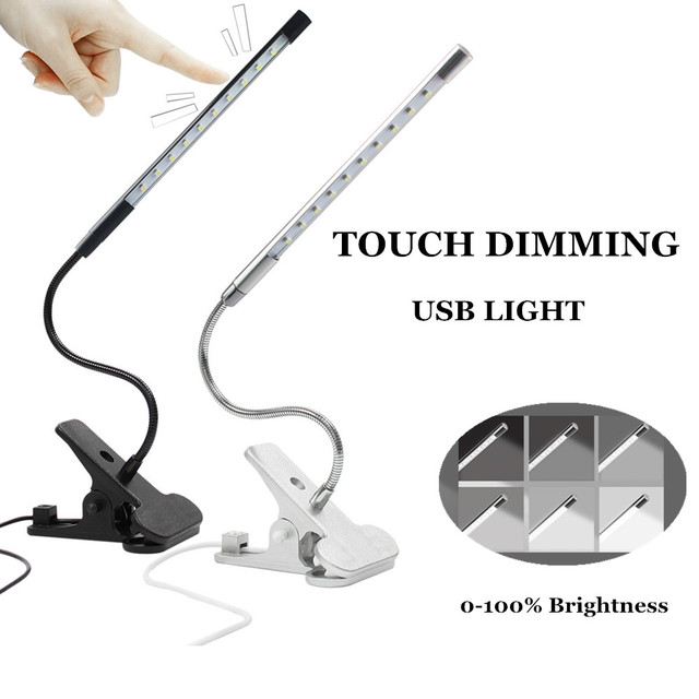 Touch Dimmable Flexible USB LED Eye-care Reading Light Adjustable LED Solid Clip Desk Lamp for Laptop Bedroom Study Lighting