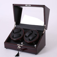 Mahogany Leather Watch Accessories Box For Automatic Watch Winder Case Lock Rotator Storage Movement Ratator Boxes