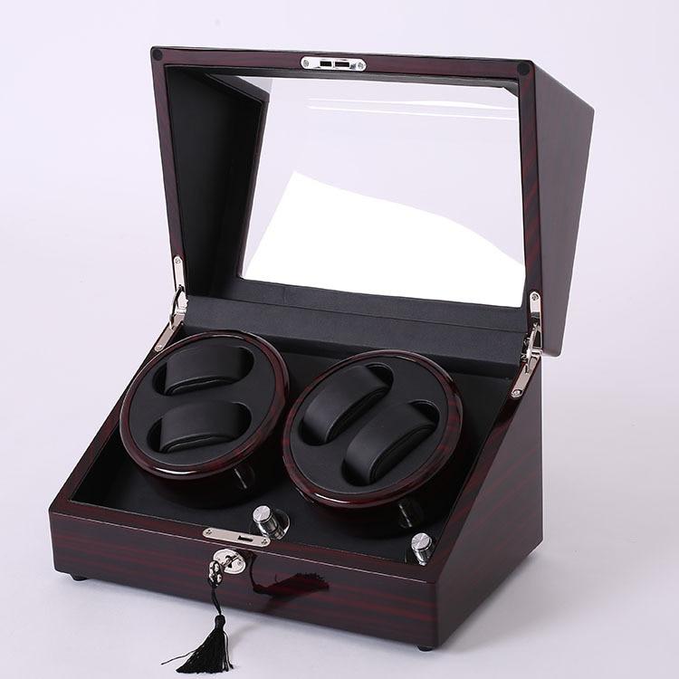 Acajou accessoires de montre en cuir boîte pour montre automatique enrouleur verrouillage cas rotateur de stockage mouvement ratator boîtes enrouleurs
