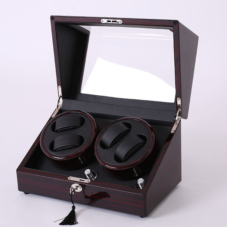 Mahogany leather watch accessories box for automatic watch winder case lock rotator storage movement ratator boxes winders