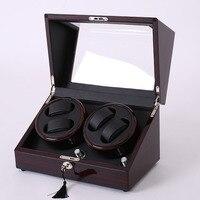 Mahogany leather watch akcesoria pudełko na zegarek automatyczny nawijacz przypadku blokady rotator przechowywania ruch ratator pudełka nawijarki