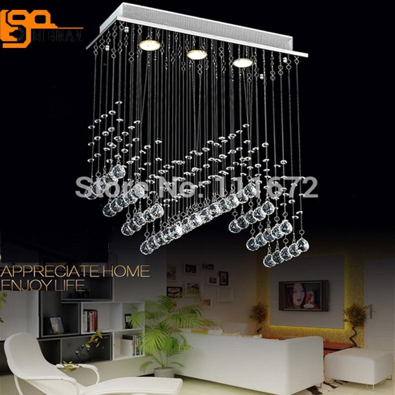 quality design d86e0 30bd3 US $215.38 11% OFF|Hot selling modern rectangular Chandelier LED crystal  light lustres dinning room chandelier-in Chandeliers from Lights & Lighting  ...