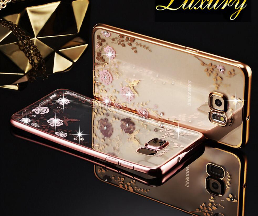 xFSKY Beautiful Flowers Fashion Ultra Thin Lady Rhinestone Phone Case For Galaxy S8 Transparent Back Cover