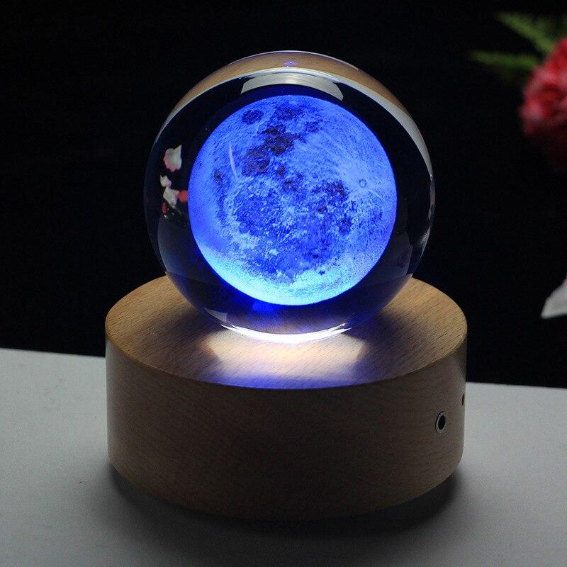 Rotating Luminous Moon Music Box Crystal Ball 3d Illusion Lamp USB Led Night Light Christmas Gift Kids Lights Decoration Home - 4