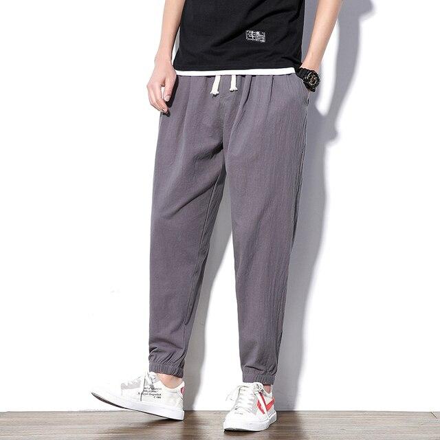 Pantalones Harem de verano de algodón ligero hasta el tobillo holgados para hombre Pantalones Casual para hombre Pantalones 4XL 5XL