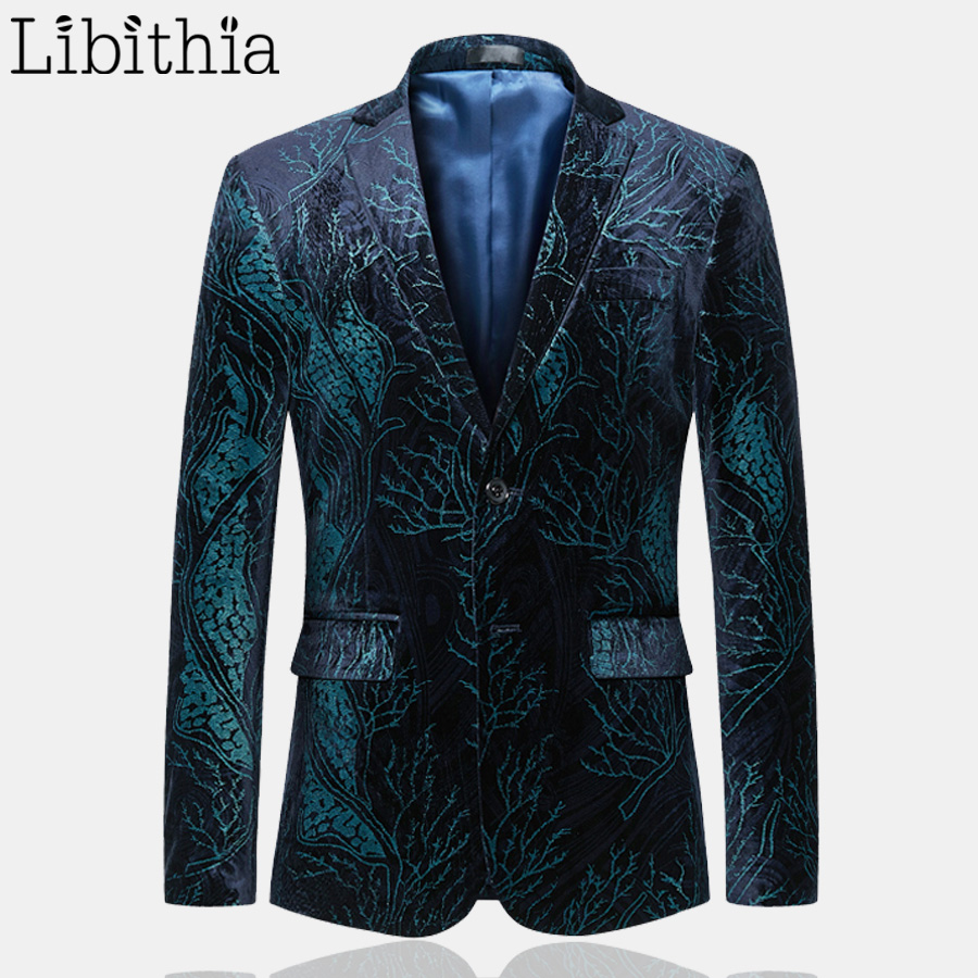 Casual Smart Picture Qualité Pour Fit Boutons Veste Masculino Floral Taille Slim As Deux Vêtements Blazers Plus Hommes Printemps Costume Haute T033 6xl tEwdW1qw