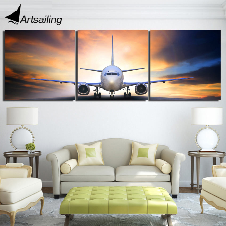 3 piece canvas art airplane take off plane canvas painting posters and prints decor wall. Black Bedroom Furniture Sets. Home Design Ideas