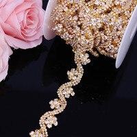 5yards/lot Gold Crystal Wedding Dress Belt Bridal Cup Chain Trim Flower shape Rhinestone Trim Sew on Garments DIY Crafts
