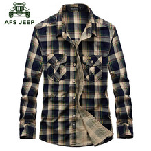AFS JEEP 2016 Autumn men s good quality 100 cotton fashion casual brand red plaid long