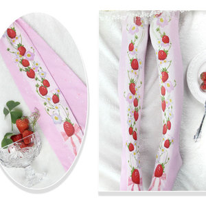 Image 4 - Branded Strawberry Garden & Star Printed Lolita Tights Sweet 80D Summer Pantyhose