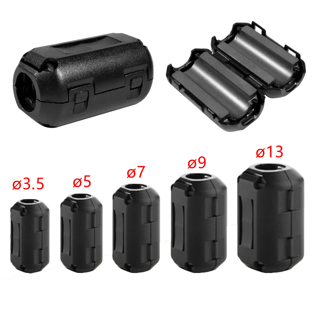 5pcs Black Plastic Clip On EMI RFI Noise Suppressor 5mm Cable Ferrite Core Filters Removable