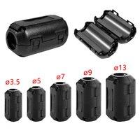 Supressor de ruído 5mm  clipe de plástico preto em emi rfi filtros removíveis cabo de ferrite core