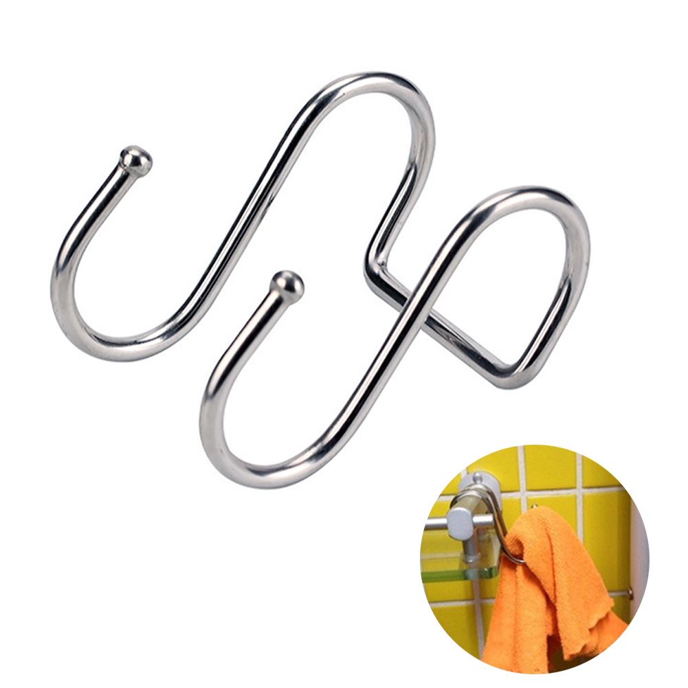 Stainless Steel Double S Shape Storage Hook For Bathroom Kitchen Wall And Door Organizer Accessories Purse Hook