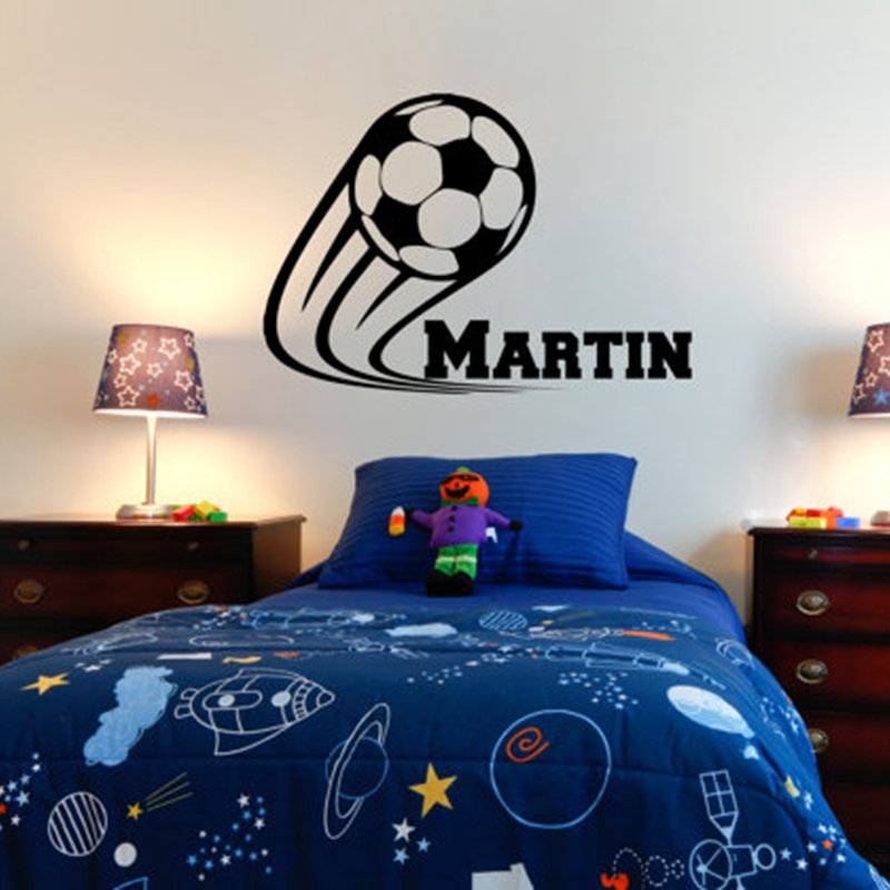 US $7.28 6% OFF|Vinyl Soccer Football Wall Decals Personalized Name kids  boy For Children Room Decor Stickers ,Size 41*60CM Free Shipping-in Wall ...