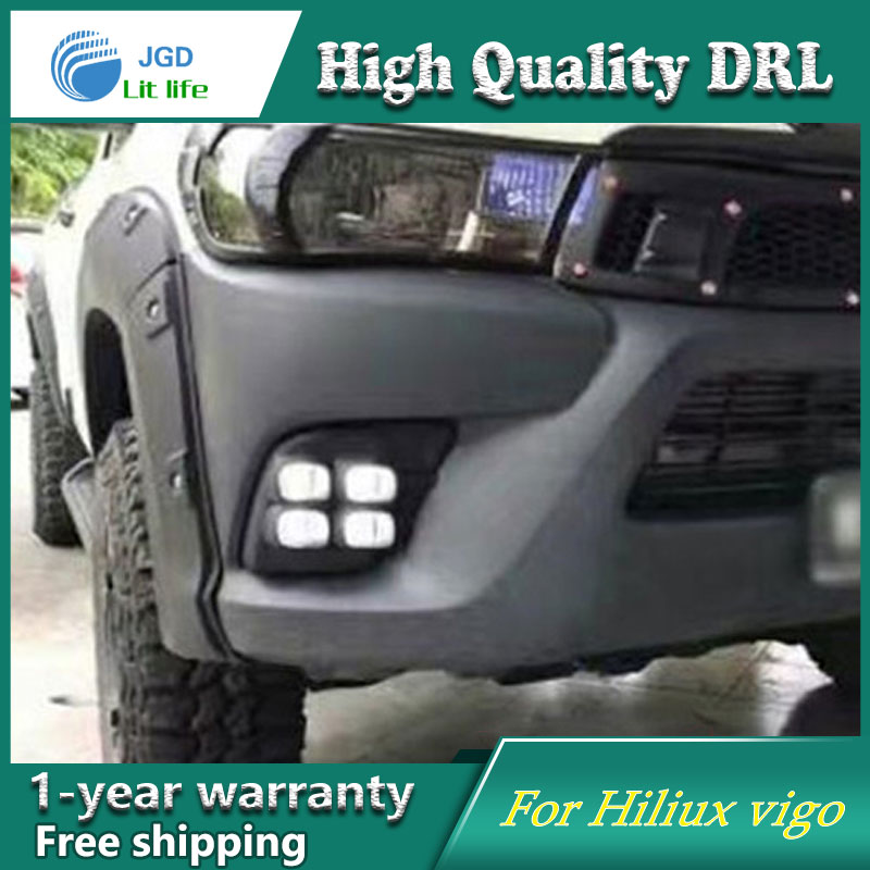 Case For Toyota Hiliux vigo Revo 2015 2016 Turning Signal Relay Waterproof Car DRL 12V LED Daytime Running Light Fog Lamp 12v led car drl turning signal