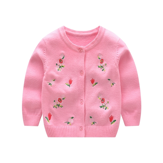 7d04ae9b6 Flower Baby Girls Sweater Long Sleeve Baby Sweaters O Neck Cotton ...