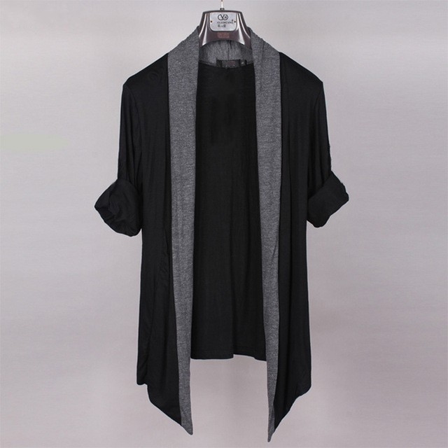 Free Shipping Plus Size Male European Version Fat Guy Clothing 6xl 7xl Long-sleeve No Button Cardigan Thin Black Sweaters