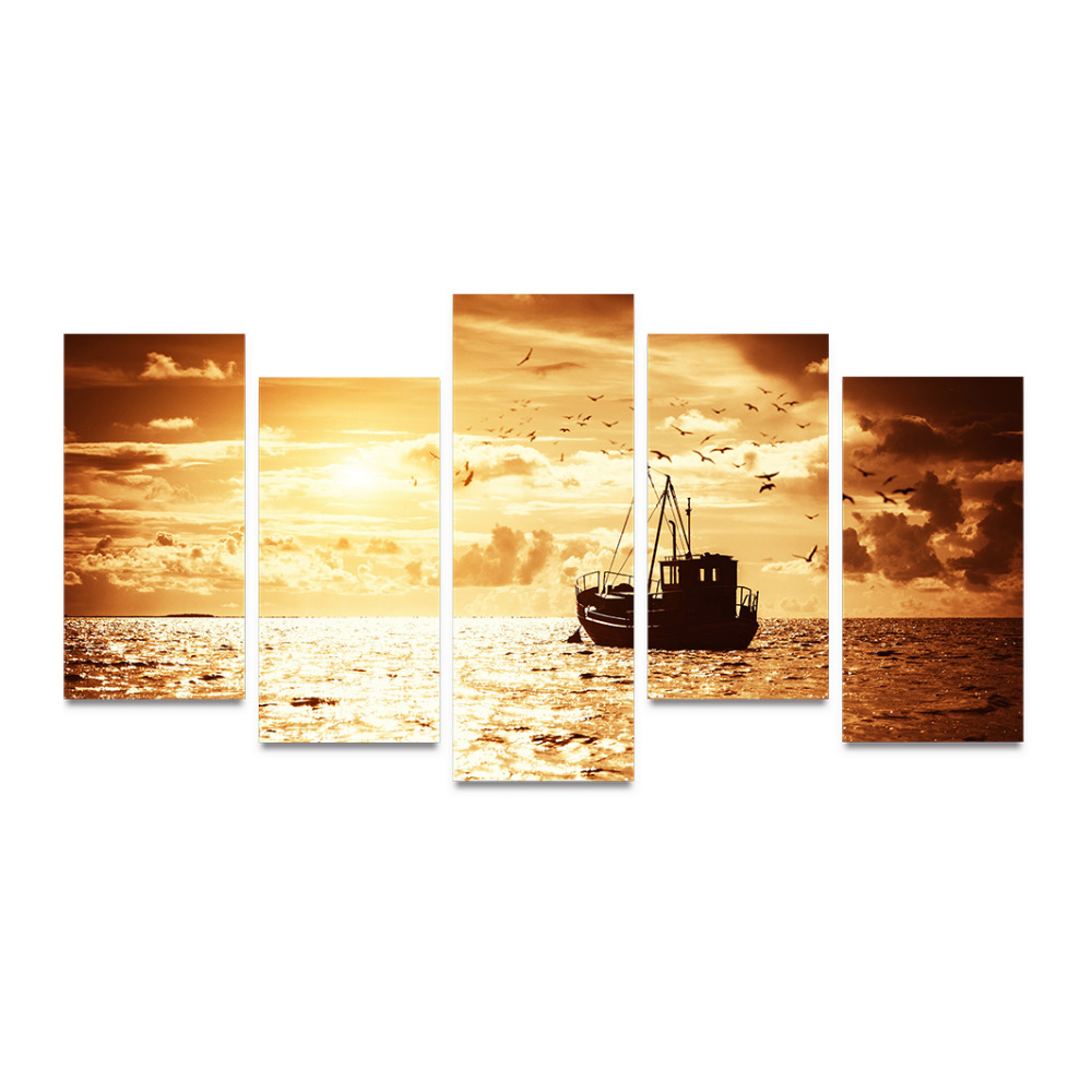Canvas Print Sailboats On Ocean Morning Glowing And Seabirds ...